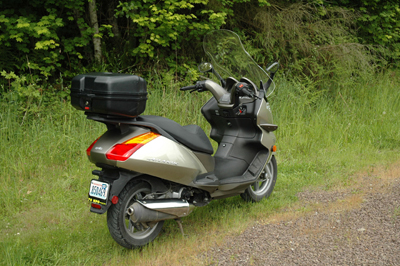 rear view of the aprillia atlantic scooter